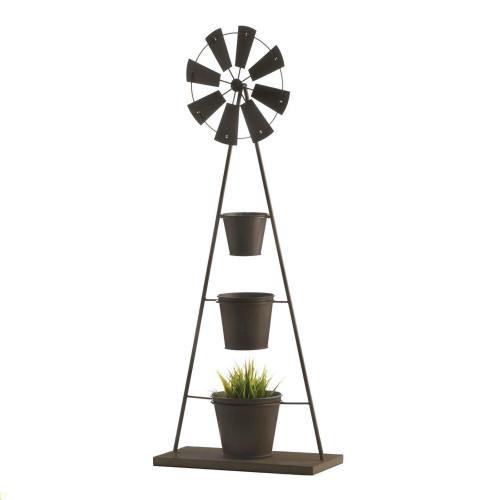 Windmill Three Planter Pot Iron Plant Stand