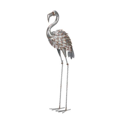 Galvanized Iron Flamingo Statue