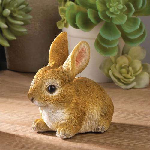 Ready to Pounce Bunny Decorative Garden Figurine