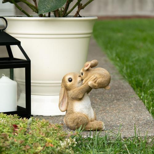 Playful Mom and Baby Rabbit Decorative Garden Figurine