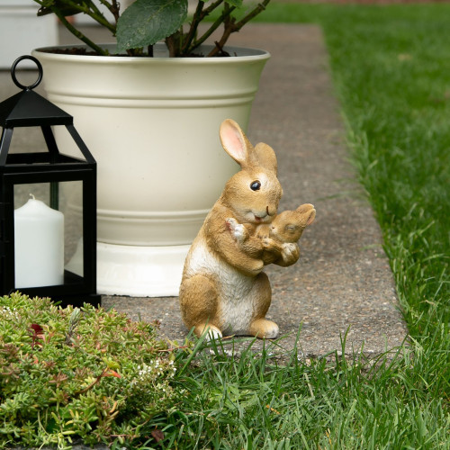Mother and Baby Rabbit Bonding Moment Garden Figurine