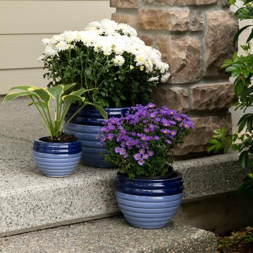 Trio of Two Tone Blue Ceramic Planter Pots