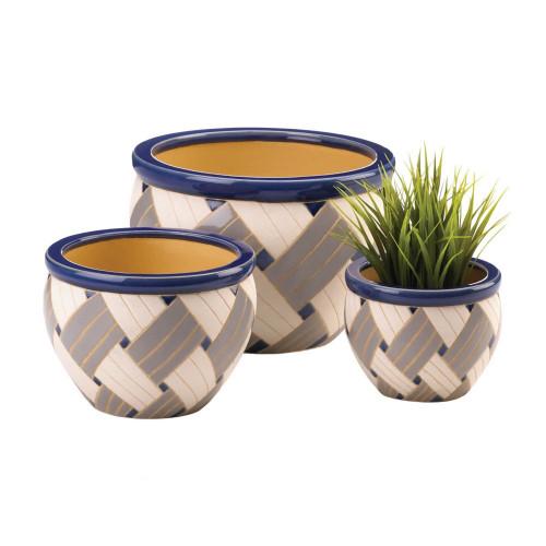 Trio of Geometric Print Ceramic Planter Pots
