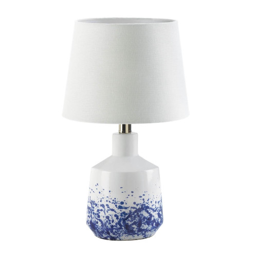 White and Blue Splash Porcelain Table Lamp with Neutral Shade