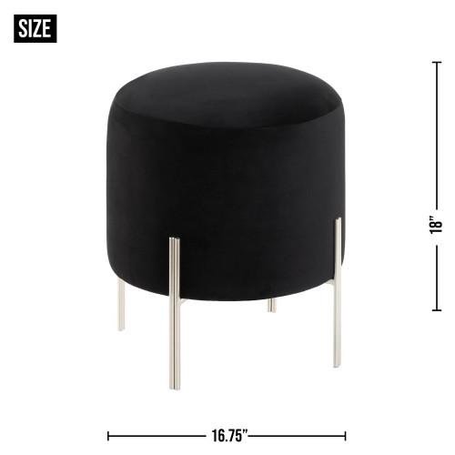 Modern Round Black Velvet Stool