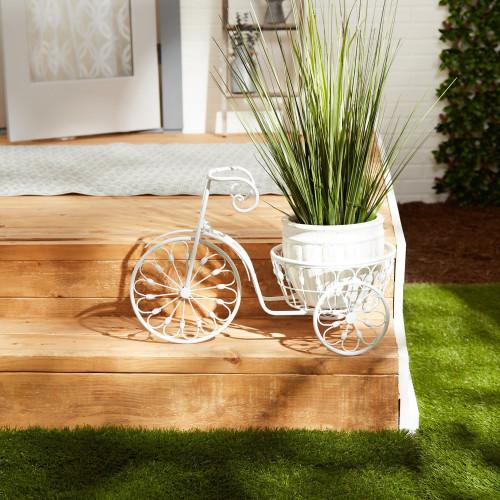 White Bicycle Iron Planter
