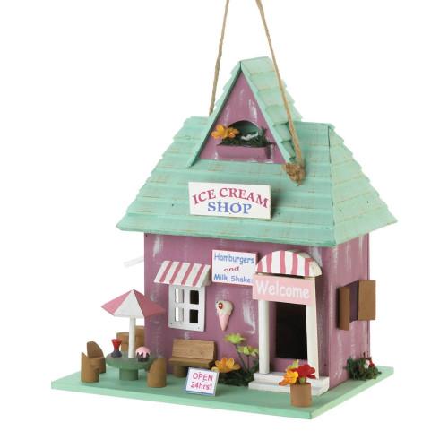 Ice Cream Shop Wood Birdhouse