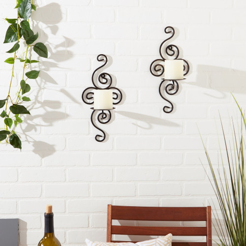 Scrollwork Wrought Iron Candle Sconces