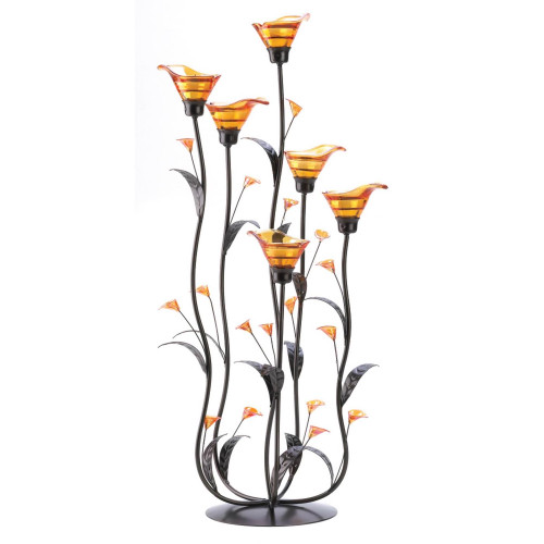 Amber Calla Lily Six Blossom Candle Holder