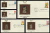 2993 - 2997 / 32c Fall Garden Flowers Set of 5 Gold Replica Postal Commemorative Society 1995 FDCs with Info Cards