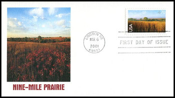 C136 / 70c Nine - Mile Prairie Airmail 2001 Fleetwood FDC