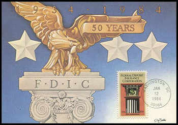 2071 / 20c F.D.I.C. Federal Deposit Insurance Corporation  1984 Fleetwood Maximum Card