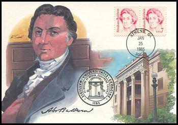 1850 / 7c Abraham Baldwin : Great Americans Series 1985 Fleetwood Maximum Card