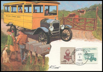 2123 / 3.4c School Bus 1920s Coil : Transportation Series 1985 Fleetwood Maximum Card