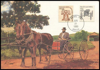 2124 / 4.9c Buckboard 1880s Coil : Transportation Series 1985 Fleetwood Maximum Card