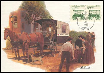 2128 / 8.3c Ambulance 1860s Coil Pair : Transportation Series 1985 Fleetwood Maximum Card