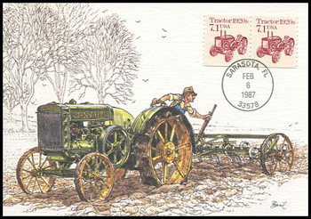 2127 / 7.1c John Deere Tractor 1920s Coil Pair : Transportation Series 1987 Fleetwood Maximum Card