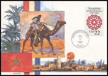 2349 / 22c Treaty of Friendship with Morocco (1787-1987) 1987 Fleetwood First Day of Issue Maximum Card