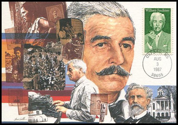 2350 / 22c William Faulkner Literary Arts Series 1987 Fleetwood First Day of Issue Maximum Card