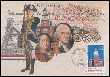 2337 / 22c Pennsylvania Constitution Bicentennial Series 1987 Fleetwood First Day of Issue Maximum Card