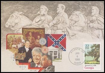 2339 / 22c Georgia Statehood : Statehood Series 1988 Fleetwood First Day of Issue Maximum Card