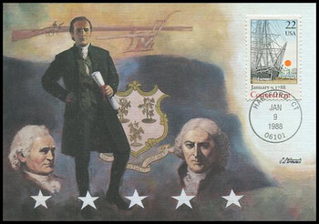 2340 / 22c Connecticut Statehood : Statehood Series 1988 Fleetwood First Day of Issue Maximum Card