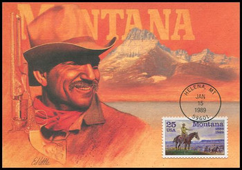 2401 / 25c Montana Statehood : Statehood Series 1989 Fleetwood First Day of Issue Maximum Card