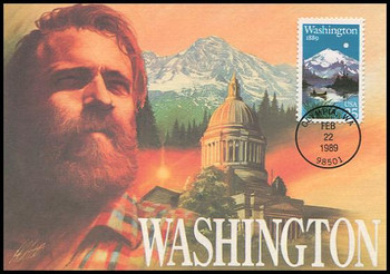 2404 / 25c Washington Statehood : Statehood Series 1989 Fleetwood First Day of Issue Maximum Card