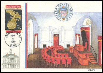 2413 / 25c U.S. Senate Constitution Bicentennial Series 1989 Fleetwood First Day of Issue Maximum Card
