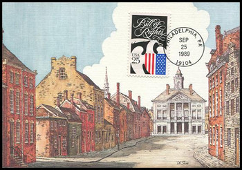 2421 / 25c Drafting the Bill of Rights Constitution Bicentennial Series 1989 Fleetwood First Day of Issue Maximum Card