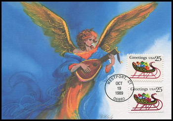 2428 - 2429a / 25c Sleigh Combo Christmas Series 1989 Fleetwood First Day of Issue Maximum Card