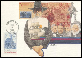 2341 / 25c Massachusetts Constitution Ratification 1988 Fleetwood First Day of Issue Maximum Card