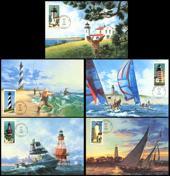 2470 - 2474 / 25c Lighthouses Set of 5 Fleetwood 1990 First Day of Issue Maximum Card