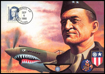 2187 / 40c Claire Lee Chennault - Flying Tigers : Great Americans Series 1990 Fleetwood Maximum Card