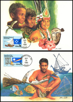 2506 - 2507 / 25c Federated States of Micronesia and Marshall Islands Set of 2 Fleetwood 1990 First Day of Issue Maximum Card