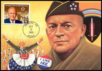 2513 / 25c Dwight David Eisenhower 1990 Fleetwood First Day of Issue Maximum Card