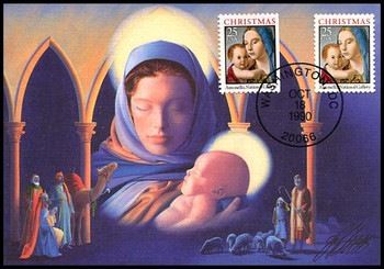2514 - 2514a / 25c Madonna and Child Sheet & Booklet Single Combo 1990 Fleetwood First Day of Issue Maximum Card