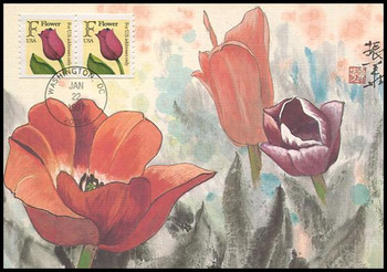2518 / Tulip ( 29c ) Non-denominated Coil Pair 1991 Fleetwood First Day of Issue Maximum Card