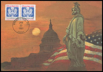 O144 / F Rate ( 29c ) Official Mail Coil Pair 1991 Fleetwood First Day of Issue Maximum Card