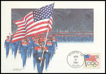 2528 / 29c Flag with Olympic Rings Booklet Single 1991 Fleetwood First Day of Issue Maximum Card