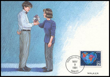 2536 / 29c World Heart Booklet Single : Love Stamp Series 1991 Fleetwood First Day of Issue Maximum Card