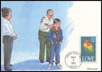 2537 / 52c Lovebirds : Love Stamp Series 1991 Fleetwood First Day of Issue Maximum Card