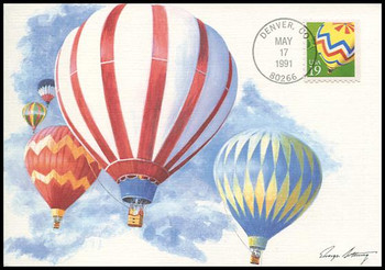 2530 / 19c Hot Air Ballooning Booklet Single 1991 Fleetwood First Day of Issue Maximum Card