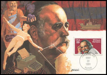 2538 / 29c William Saroyan Literary Arts Series 1991 Fleetwood First Day of Issue Maximum Card