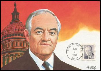 2189 / 52c Hubert H. Humphrey : Great Americans Series 1991 Fleetwood Maximum Card