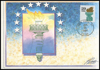 2531a / 29c Liberty Torch 1991 Fleetwood First Day of Issue Maximum Card