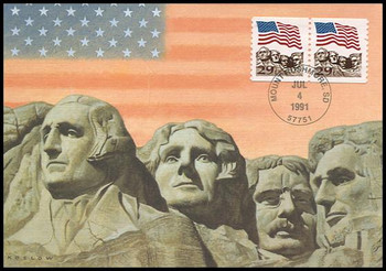 2523a / 29c Flag over Mt. Rushmore Coil Pair 1991 Fleetwood First Day of Issue Maximum Card