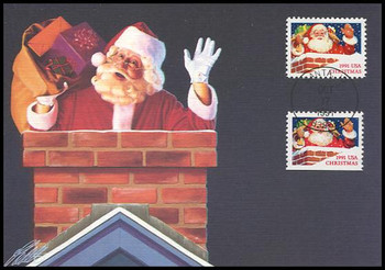 2579 - 2580 / 29c Santa in Chimney : Christmas Series 1991 Fleetwood First Day of Issue Maximum Card