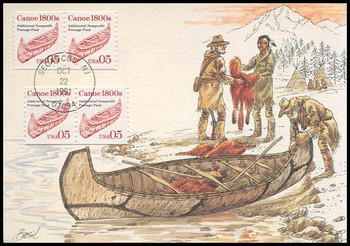 2454 / 5c Canoe 1800s Coil Pair Transportation Series 1991 Fleetwood First Day of Issue Maximum Card