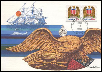 2602 / Non-denominated ( 10c ) Eagle and Shield Coil Pair 1991 Fleetwood First Day of Issue Maximum Card